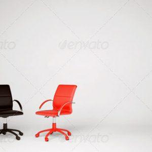 Chaises noir et orange