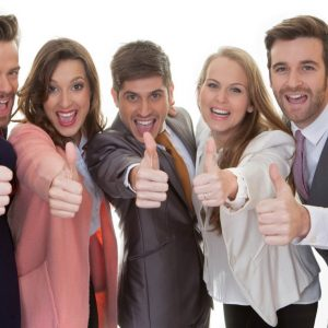 business team group with thumbs up